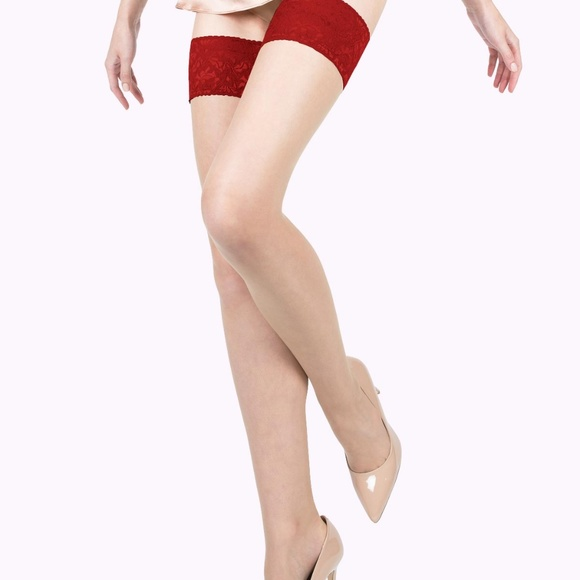 55df07d4d5 VienneMilano Accessories | Nude Thigh Highs Stockings With Red Lace ...